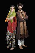 image of sikh  - Portrait of a Sikh couple smiling - JPG