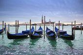 Постер, плакат: San Giorgio Maggiore Church With Moored Gondolas