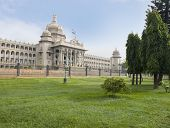 stock photo of vidhana soudha  - Government building viewed from a garden - JPG