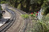 stock photo of himachal pradesh  - Railroad tracks in the valley - JPG