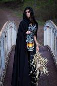 picture of cloak  - girl in a black cloak with a lantern on the bridge - JPG
