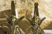 stock photo of metal sculpture  - Antique metal sculptures at souvenir shop - JPG