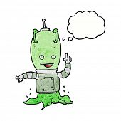 foto of spaceman  - cartoon alien spaceman with thought bubble - JPG