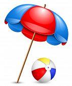 picture of beach-ball  - Beach umbrella and beach ball - JPG