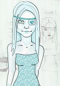 Shaded Girl Turquoise