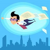 image of superman  - Businessman superhero like Superman flying over the city contract deal - JPG