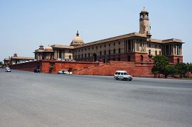 picture of rashtrapati  - Cars moving on the road in front of a government building - JPG
