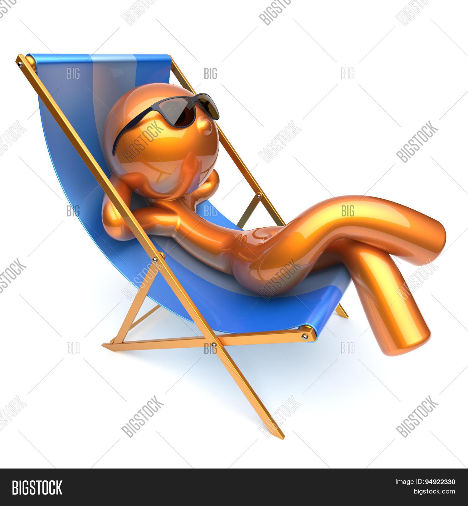 Man Relaxing Cartoon Character Chilling Beach Deck Chair