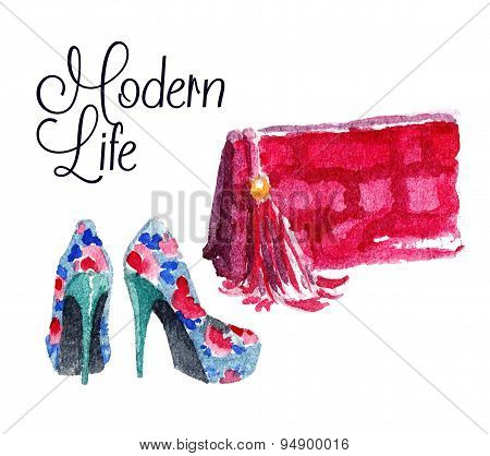 Banner with modern womens shoes and bag