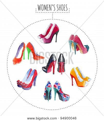 Seven pairs of womens shoes