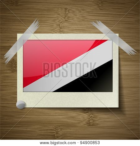 Flags Sealand Principality At Frame On Wooden Texture. Vector