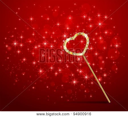 Magic Wand With Heart On Red Background