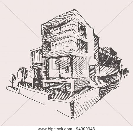Architect draft modern new house building concept