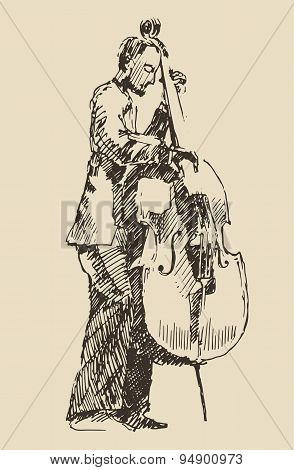 JAZZ concept man playing the double bass music