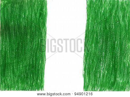 Nigeria Flag Pencil Drawing Illustration Kid Style Photo Image