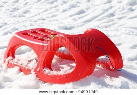 Sled For Playing In The Snow In Mountains