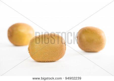 Closed Up Kiwi Fruit On White