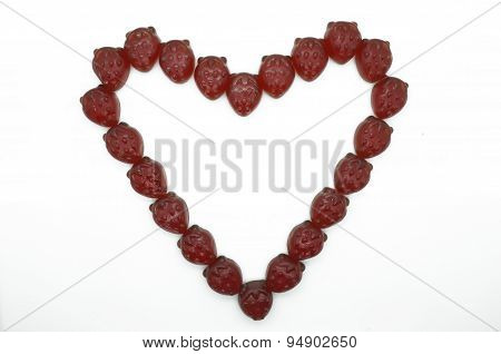 Heart frame, border of gummi red strawberry jelly