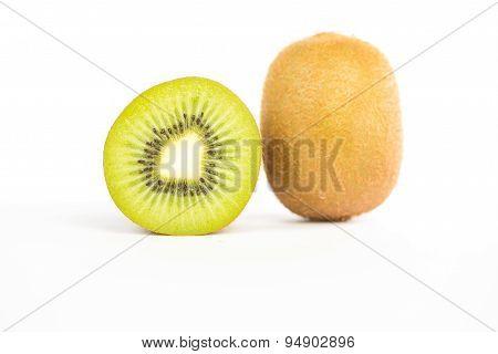 Sliced Kiwi Fruit On White
