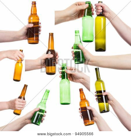 Collection Of Female Hands Holding Bottles Of Alcohol