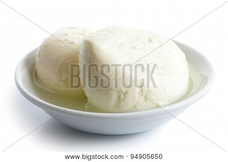 Two Balls Of Mozzarella Cheese In A Dish, Isolated On White.