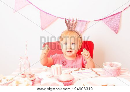 happy little princess at girl party