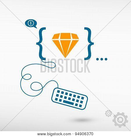 Diamond Icon And Flat Design Elements