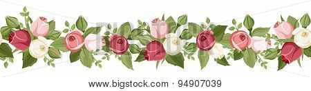 Horizontal seamless background with red, pink and white rose buds. Vector illustration.