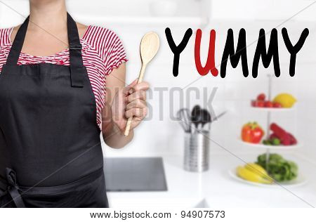 Yummy Chef Holding Wooden Spoon Background