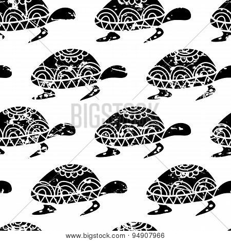 Vector Seamless Pattern With Hand Drawn Black Turtle Isolated On White Background.