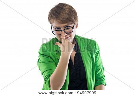 Image of pudgy young woman with glasses