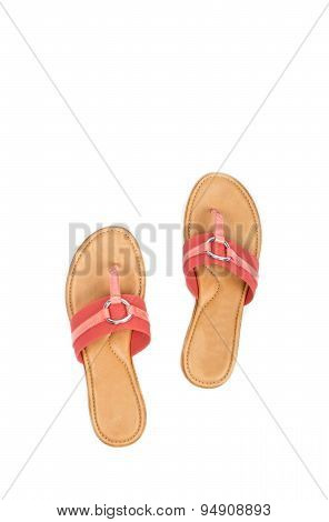 Pink Flip Flops Sandals Isolated on White