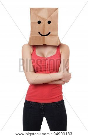 smiley paper bag woman