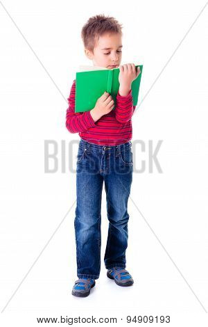 Boy Reading An Interesting Book