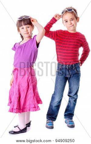Pretty Little Girl And Boy In Studio