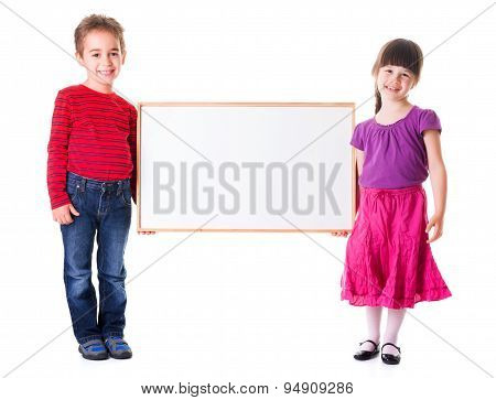 Cute Girl And Boy Holding Blank Ad