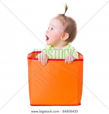 Wondering Pretty Baby Girl Sitting In Box