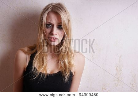 woman with smeared mascara