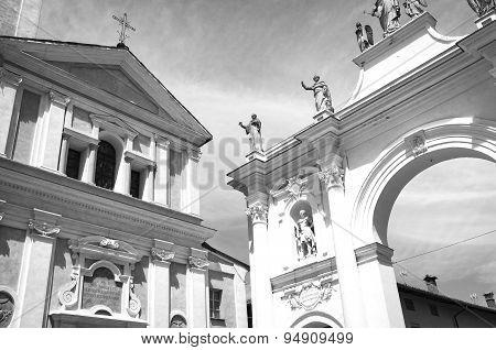 Cherasco, Cuneo. Black and white photo