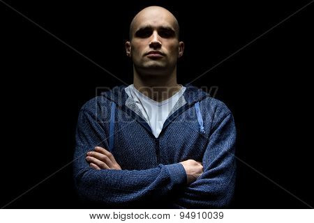 Image of hairless man with uplifted chin
