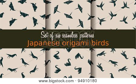 Vector set of seamless patterns. Japanese origami birds.