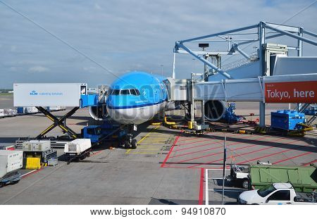 Amsterdam, Netherlands - May 16, 2015: Plane At Schiphol Airport