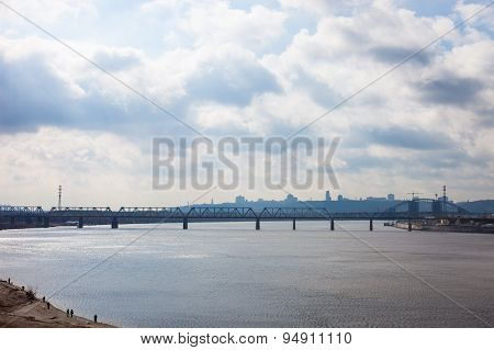 Petrivskiy Railroad Bridge In Kyiv Across The Dnieper
