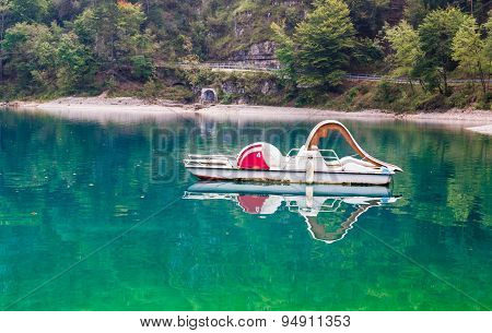 Pedal Boat Abandoned On The Lake