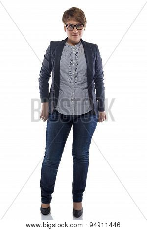 Photo pudgy woman in jeans