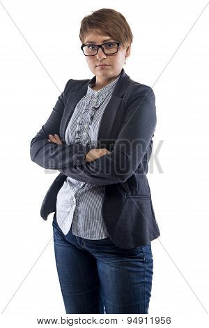 Image pudgy woman in glasses with arms crossed