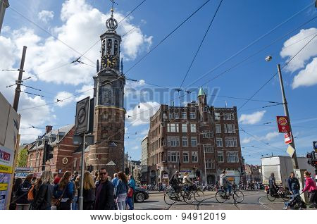 Amsterdam, Netherlands - May 8, 2015: People At The Munttoren Muntplein Square In Amsterdam