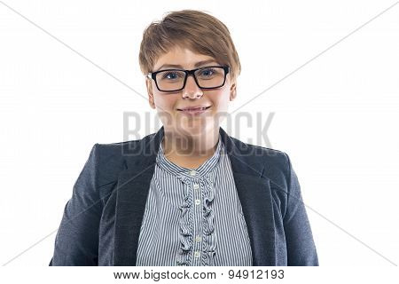 Photo smiling woman in glasses