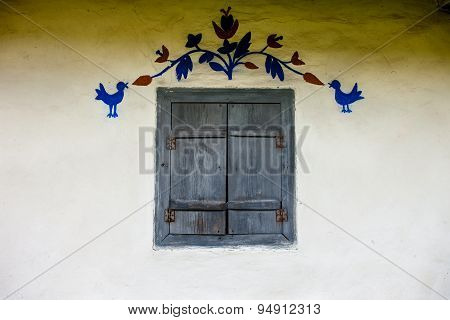 Decorated Window Of The Old Traditional Ukrainian House