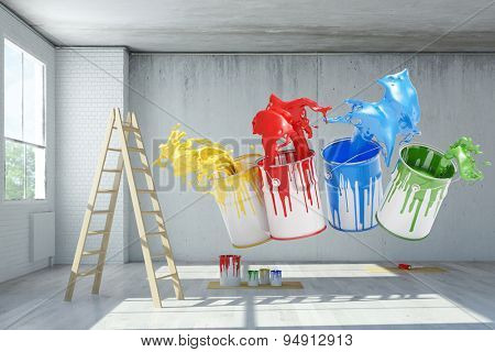 Renovation in an old loft with paint can color splashes (3D Rendering)